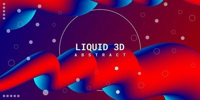 fundo 3d líquido abstrato moderno com gradiente de azul e vermelho vetor