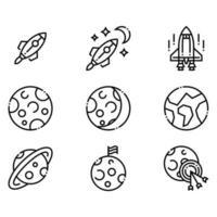 ícones de planetas e foguetes espaciais vetor
