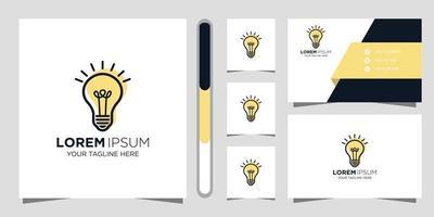 design de logotipo criativo de lâmpada e cartão de visita