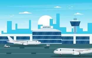 avião de avião na pista de construção do terminal do aeroporto ilustração do horizonte da paisagem