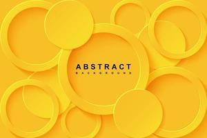 fundo abstrato com camada de papel cortada em círculo 3d amarelo vetor