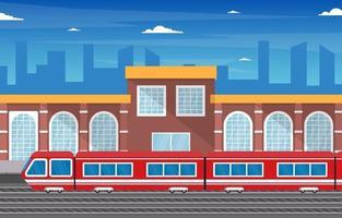 ferrovia transporte público suburbano metrô estação de trem ilustração plana vetor