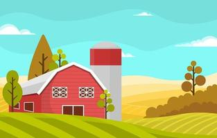 agricultura trigo campo fazenda rural natureza cena paisagem ilustração vetor