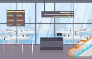 aeroporto avião terminal portão chegada sala de partida ilustração plana vetor