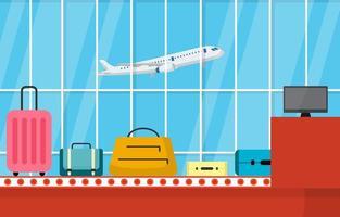 aeroporto avião terminal portão transportador ilustração plana interior sala de chegada vetor