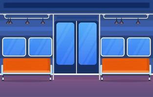 ferrovia transporte público suburbano metrô trem porta ilustração plana vetor