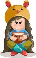 imagem vetorial de uma menina com um chapéu com um focinho de ratinho sentado em estilo turco com uma xícara. estilo dos desenhos animados. vetor
