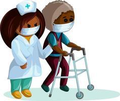 imagem vetorial de um homem idoso de pele escura com doenças do sistema musculoesquelético caminhando com um apoio e uma enfermeira que o ajuda vetor