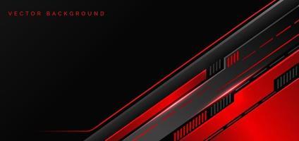 tecnologia abstrata geométrica cor vermelha e preta com luz vermelha sobre fundo preto. vetor
