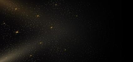 glitter dourado de partículas em partículas cintilantes de pó de estrelas de fundo preto. vetor
