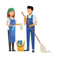 trabalhadores de limpeza com esfregão e balde vetor