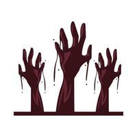 ícone isolado de mãos mortas de zumbi vetor