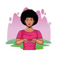 mulher negra fazendo autoexame de seios estilo pop art