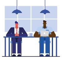 homens de design plano trabalhando no escritório vetor