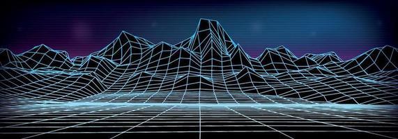 fundo abstrato da paisagem do wireframe. vetor