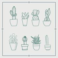 Conjunto de ilustrações vetoriais de cacto verde em uma panela