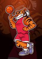 Mascote de basquete tigre vetor