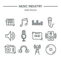 conjunto de linha de ícones da indústria musical