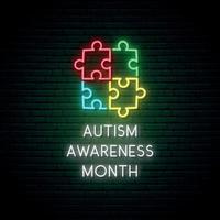 quebra-cabeça colorido de néon. mês de conscientização do autismo. vetor