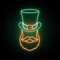 sinal de néon irlandês. irlandês com uma barba ruiva em um chapéu vetor