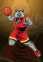 Mascote de basquete de lobo vetor