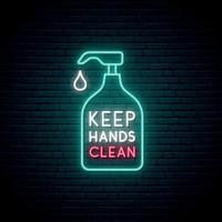 mantenha suas mãos limpas sinal de néon vetor