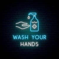 sinal de néon lave as mãos. lavar as mãos com sabão. vetor