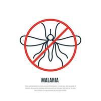 sinal de proibição de mosquitos. banner do dia mundial da malária. vetor
