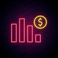 sinal de néon da crise econômica. gráfico abstrato com cifrão em estilo neon. quadro indicador de noite brilhante.
