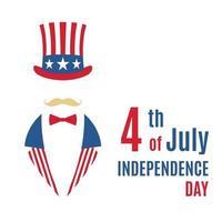 cartão com retrato minimalista do tio Sam. feliz dia da independência dos EUA. vetor