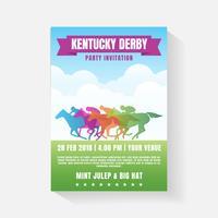 Modelo de convite de festa de corrida de cavalos vetor