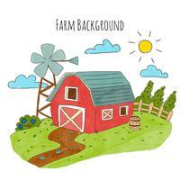 Casa de fazenda com paisagem e nuvens vetor