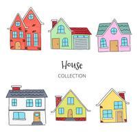 Coleção de casas fofas vetor