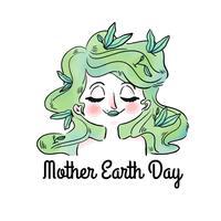 Mulher bonita com cabelo verde e folhas para o dia da mãe terra vetor