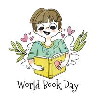 Menino bonitinho sorrindo e lendo o livro com folhas ao redor vetor
