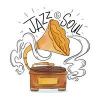 Toca-discos com música jazz com letras vetor