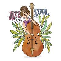 Garota tocando Jazz instrumento com folhas ao redor vetor