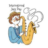 Homem bonito tocando saxofone vetor