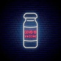 sinal de vacina de néon. vacinas para a prevenção do vírus covid-19. vetor