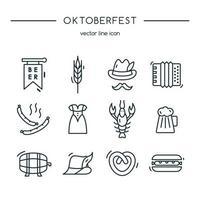 conjunto de linha de ícones oktoberfest. ilustração vetorial.