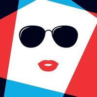 modelo feminino enfrenta em óculos de sol da moda.