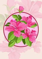 Flores e folhas de azaléia vetor