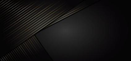 abstratas listras douradas linhas diagonais se sobrepõem em fundo preto. stryle de luxo. vetor