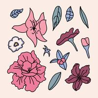 Flores de azaléia rosa vetor