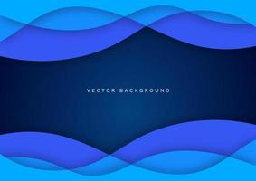 camada de sobreposição de ondas onduladas de água de curva de linha azul abstrata em fundo azul escuro. vetor