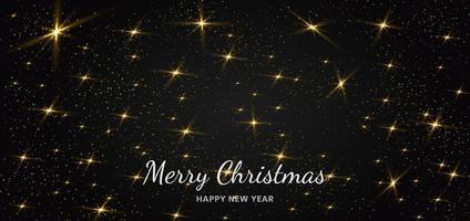 glitter dourado e efeito de luz de partículas em partículas cintilantes de poeira estelar de fundo preto. desenho de bandeira de Natal. vetor