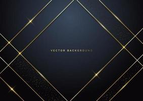 modelo abstrato luxo quadrado camada de sobreposição geométrica em fundo escuro com glitter e linhas douradas com espaço de cópia para o texto. vetor