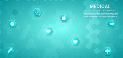 abstrato azul hexágono padrão background.medical e conceito de ciência e padrão de ícone de cuidados de saúde. vetor