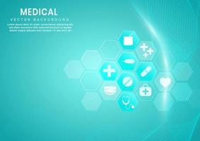 abstrato hexágono azul padrão e linhas de onda background.medical e conceito de ciência e padrão de ícone de cuidados de saúde. vetor