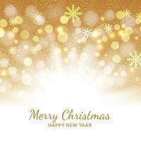 fundo dourado de Natal de flocos de neve e bokeh. vetor